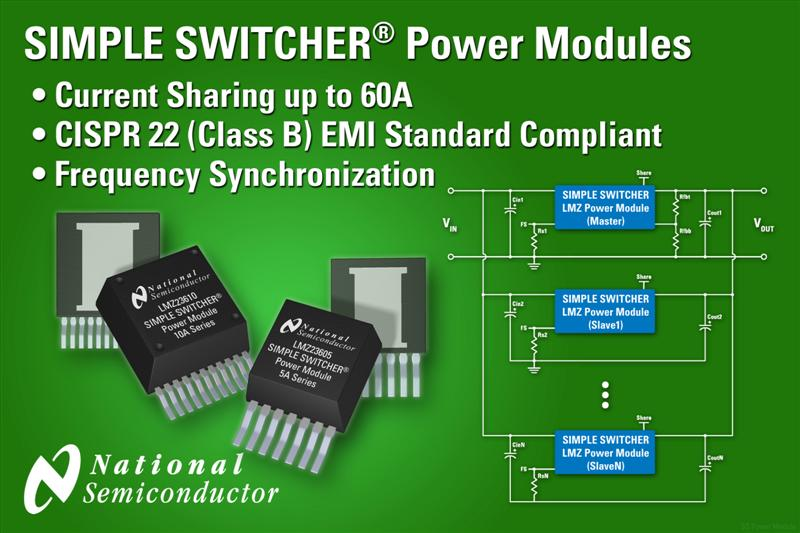 National Semiconductor Adds Low EMI, 10A Power Modules to SIMPLE SWITCHER Family