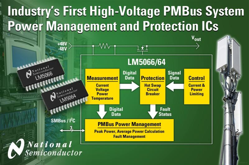 National Semiconductor Introduces Industry's First High-voltage PMBus System Power Management and Protection ICs