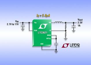 Synchronous 1-A step-down regulator requires only 3.5A quiescent current