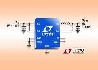 100mA synchronous buck converter handles up to 150V  input  & uses 12μA quiescent current