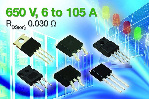 Vishay expands 650V N-Channel power MOSFET Series with devices offering RDS(on) to 30 mohms
