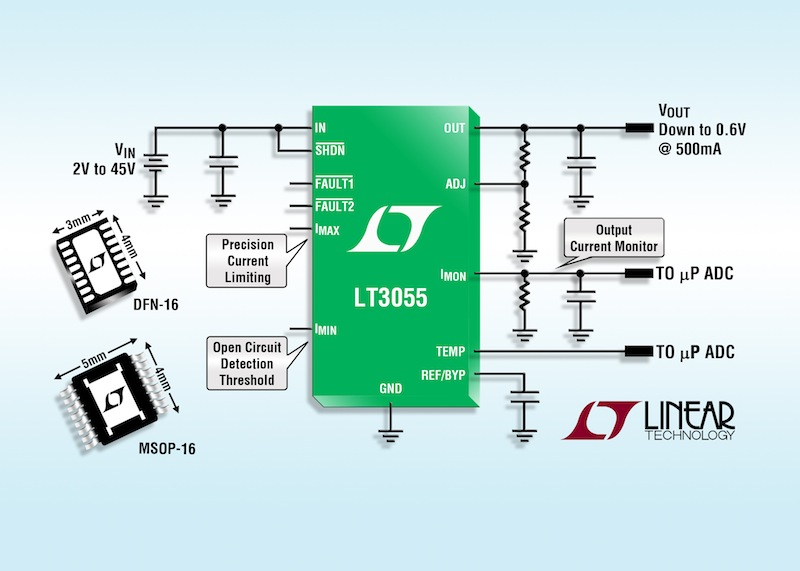 Low-noise LDO offers programmable current limit & diagnostic information