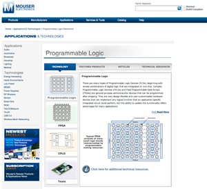 Mouser launches programmable logic technology site