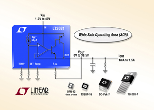 Robust linear regulator provides current & temperature monitor outputs