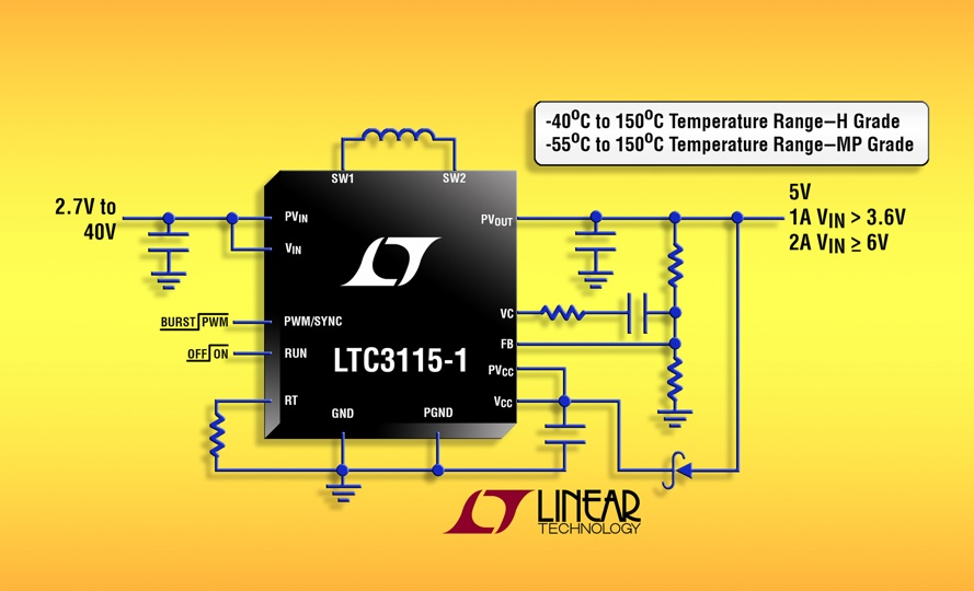 Synchronous buck/boost converter available in high-temp H Grade & high-rel MP Grade