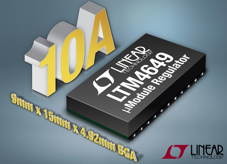 Linear's 10A μModule step-down regulator delivers full current a 86% efficiency at up to 83°C ambient