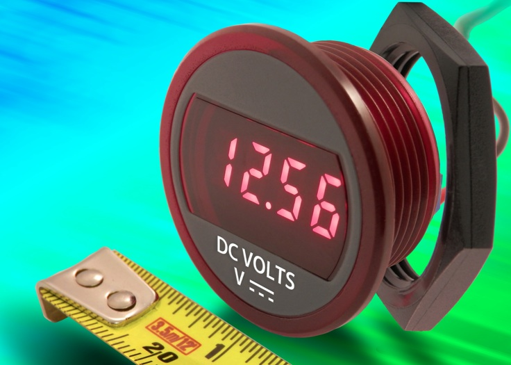 Compact self-powered DC panel mount voltmeter suits battery monitoring