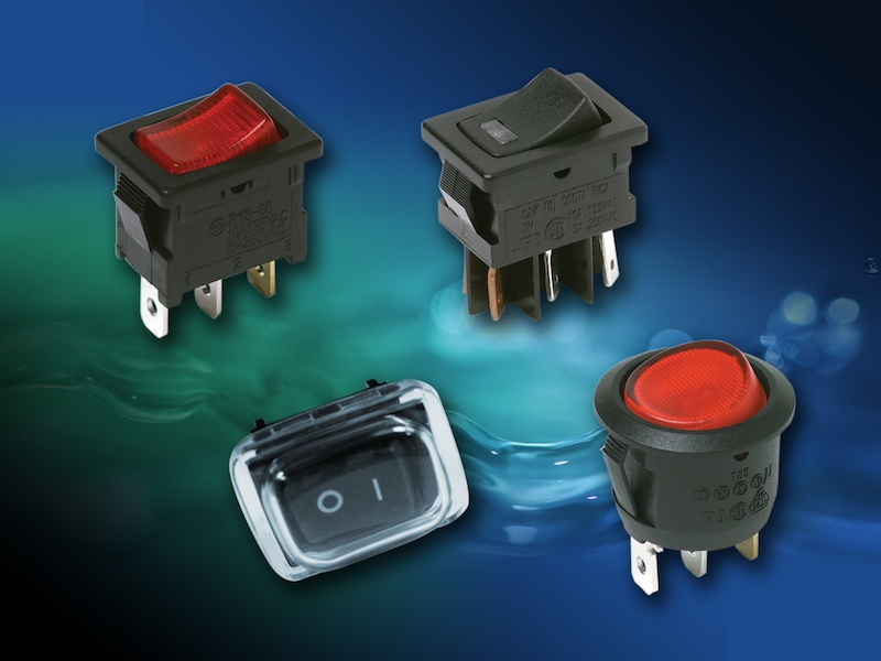 C&K miniature rocker switches feature a splash proof rubber boot option
