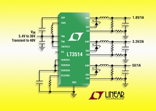 Liner Technology's triple output, 36V step-down switching regulator delivers 100% duty cycle