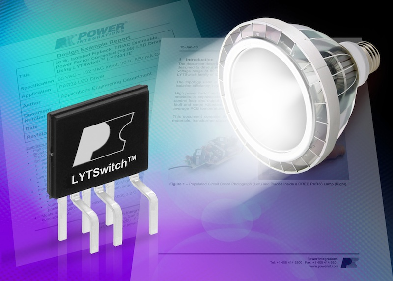 Power Integrations releases reference design for efficient PAR38 LED spotlight