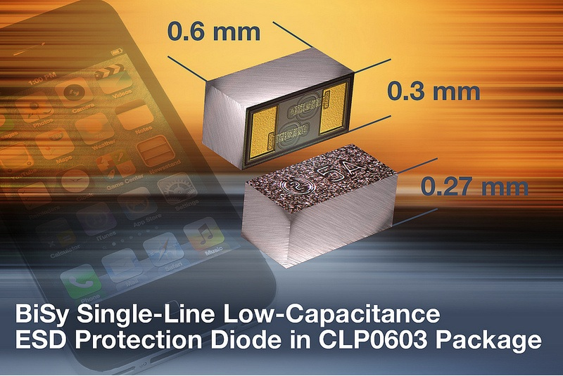 Vishay's BiSy single-Line ESD protection diode saves board space in portable electronics