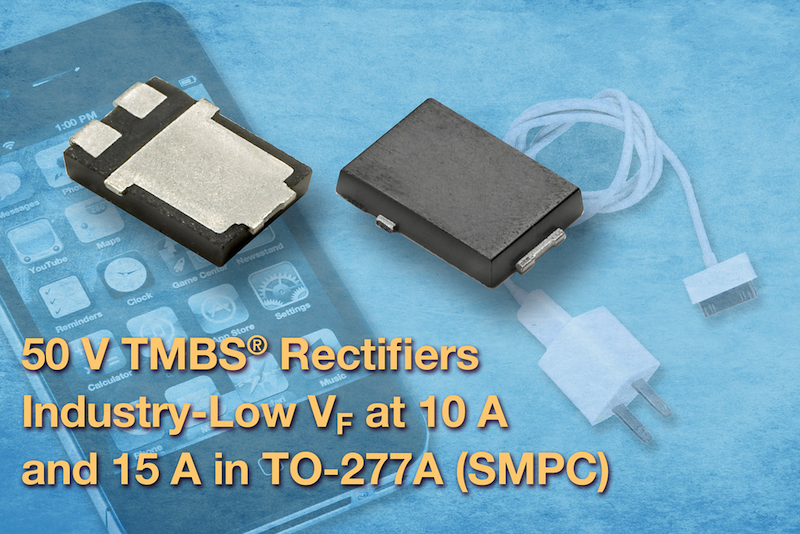 Trench MOS barrier Schottky rectifiers for smartphone and tablet chargers offer industry-low forward voltage