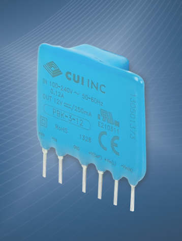 Miniature SIP AC/DC power supplies from CUI maximize board space