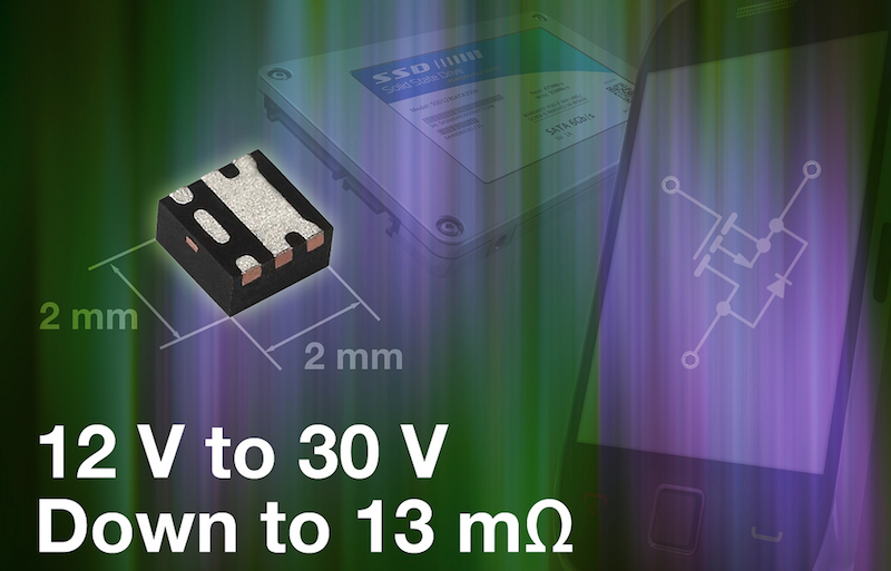 Vishay Gen III P-Channel MOSFETs boast industry-low on-resistance in the PowerPAK SC-70 package