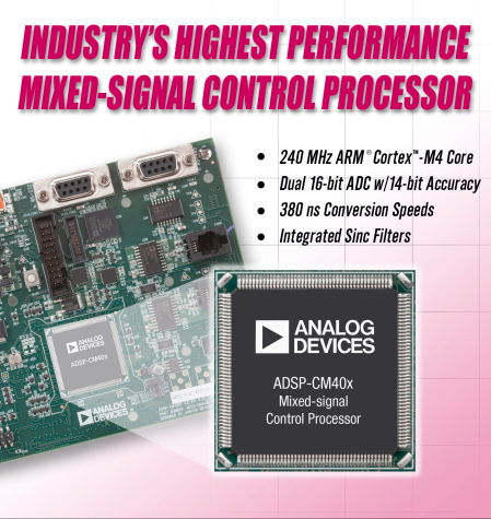 Analog Devices challenges the standard in mixed-signal control processors to revolutionize industrial motor and solar inverter designs