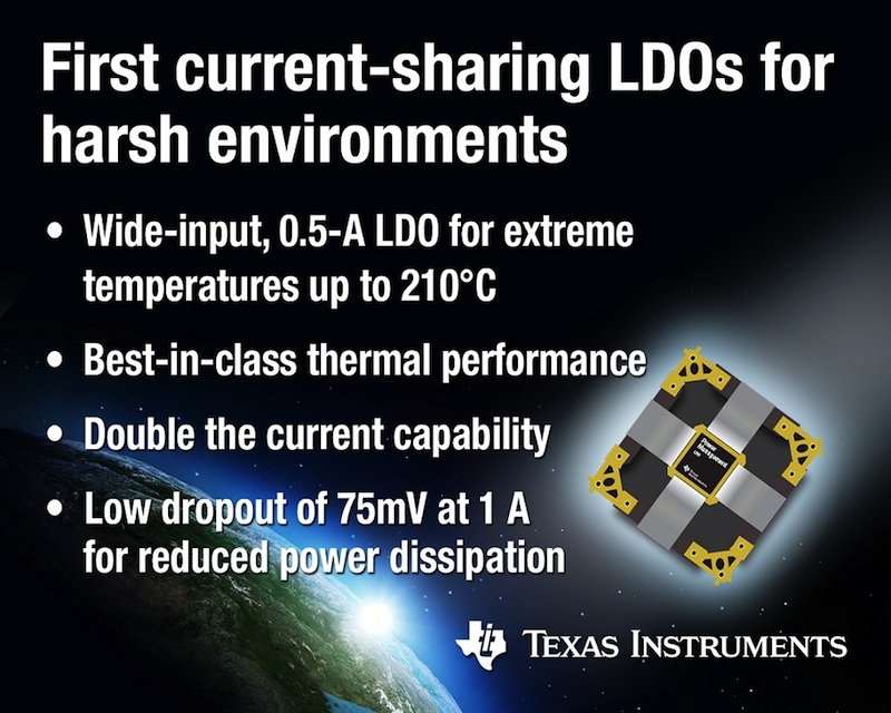 TI unveils first current-sharing LDOs for harsh environments