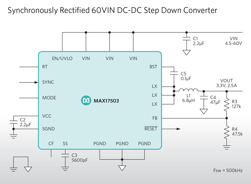 Maxim's high-voltage regulator reduces heat dissipation, improves reliability, and reduces space and component count