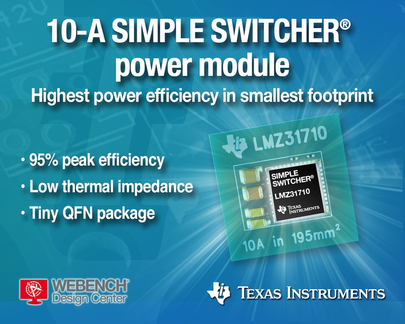 TI claims its 10-A SIMPLE SWITCHER power module is industry's smallest