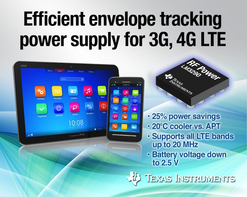 TI unveils envelope tracking DC/DC converter for 3G and 4G LTE smartphones