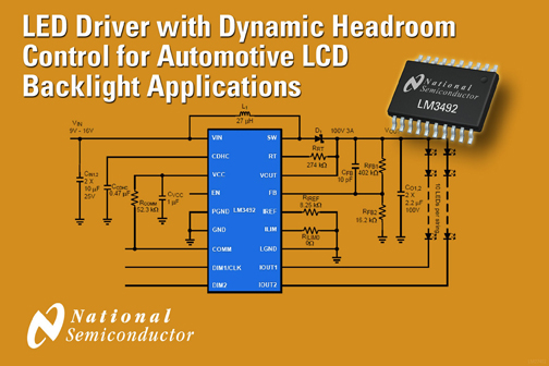 National Semiconductor Introduces LED Driver with Dynamic Headroom Control for Automotive LCD Backlight Applications
