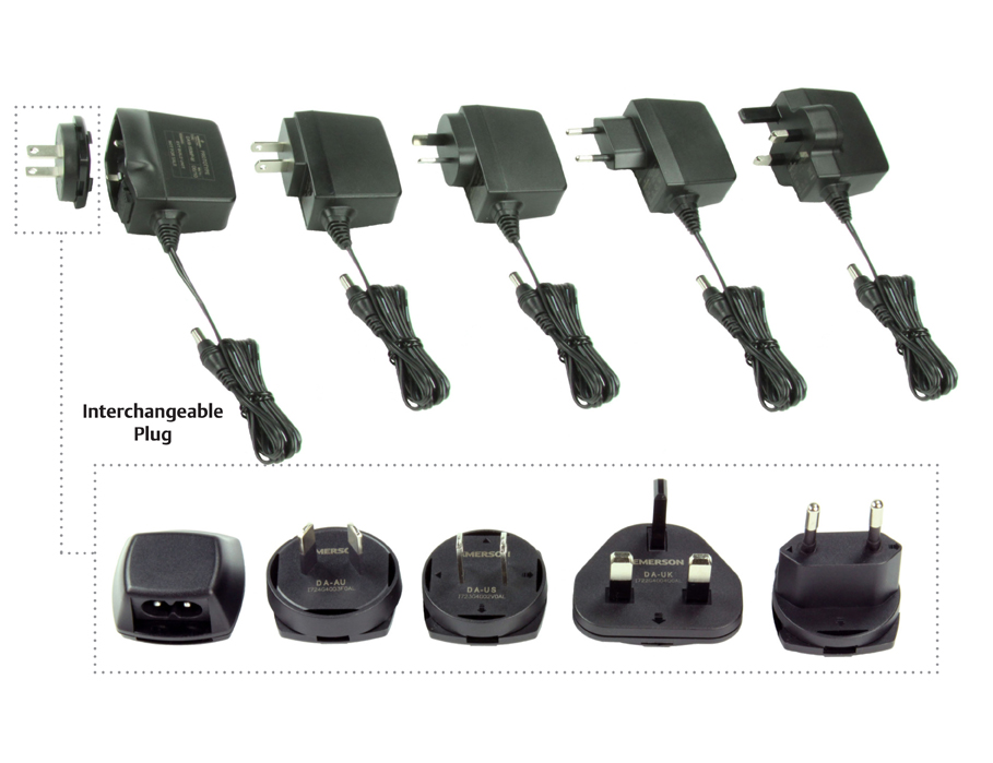 New Emerson Network Power Wall-Mount AC-DC Adapters with Medical and ITE Approvals and Interchangeable Plugs