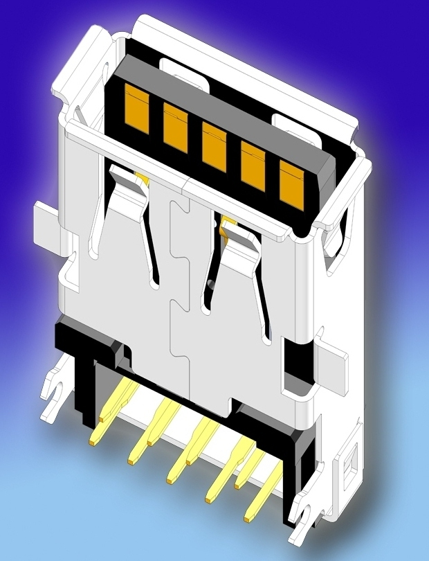 SUYIN's Small USB 3.0/ type - A Single Receptacles for Recessed PCB Installation Reduce Height