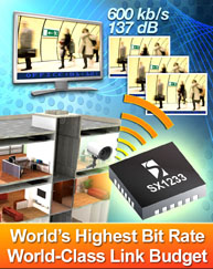 Semtech Expands Transceiver Platform with World's Highest Bit Rate and World-Class Link Budget ISM-Band Device