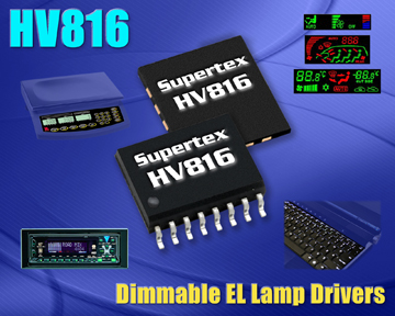 Dimmable, High Voltage EL Driver from Supertex Ideal for Backlighting Laptop Keyboards