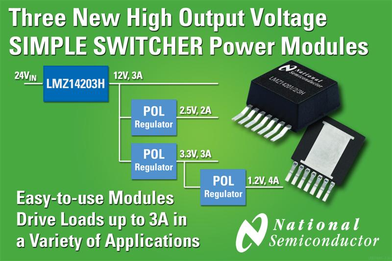 National Semiconductor Adds Three High Output Voltage Products to SIMPLE SWITCHER Power Module Family