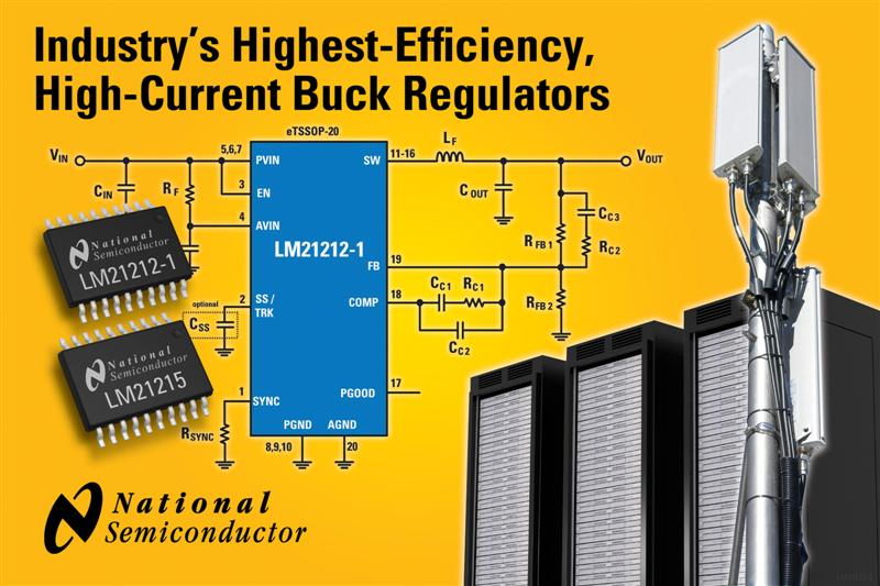 National Semiconductor Introduces Industry's Highest-Efficiency, High-Current Buck Regulators