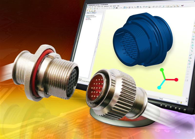 MKJ Trinity Series miniature circular connectors from ITT Interconnect Solutions now available on dynamic online 3D modeling website