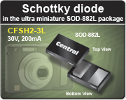 Low VF Schottky diode in leadless SOD-882L package