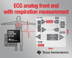 TI adds on-chip respiration measurement to ECG/EEG analog front end family