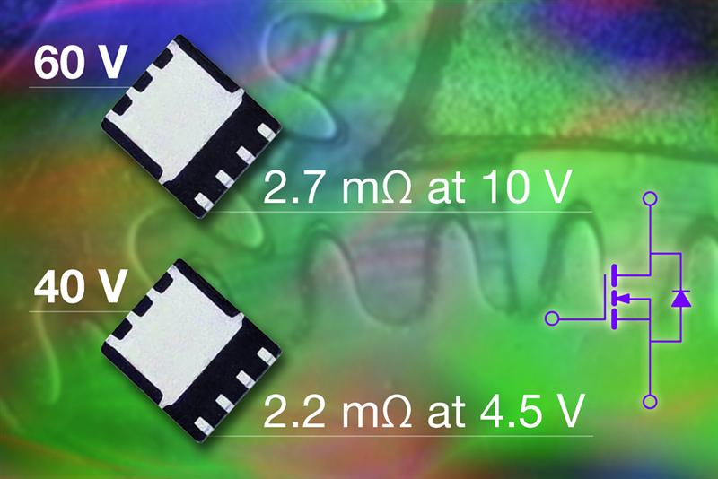 New 40V and 60V Vishay Siliconix N-Channel TrenchFET® Power MOSFETs Feature Industry-Low On-Resistance and FOMs in PowerPAK® SO-8 Package