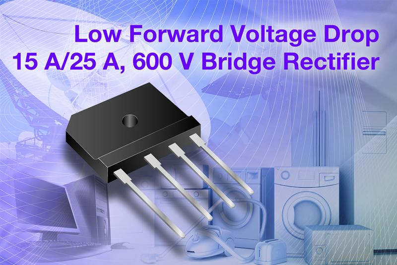 Vishay Intertechnology Releases New 15 A and 25 A Single-Phase Single In-Line Bridge Rectifiers With Low Forward Voltage Drop Down to 0.73 V for Improved Power Efficiency