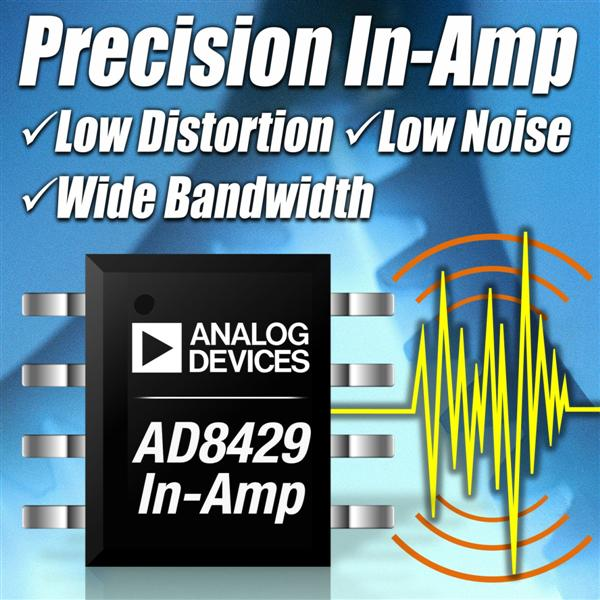 Analog Devices' Instrumentation Amplifier Combines Low Noise, Power and Distortion for Precision Signal Detection in Industrial Applications