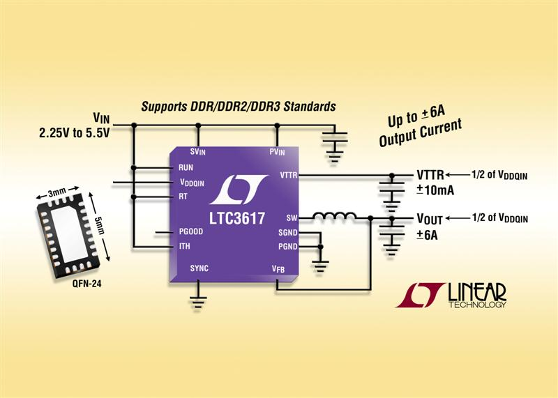 High Efficiency 6A Switching Regulator for DDR Termination Complies with DDR/DDR2/DDR3 Standards