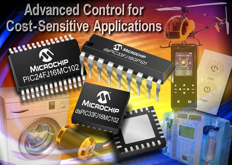 Microchip brings advanced control to cost-sensitive designs with new PIC® MCUs & dsPIC® DSCs