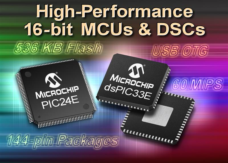 Microchip launches 60 MIPS Enhanced Core dsPIC33 digital signal controllers and PIC24 microcontrollers
