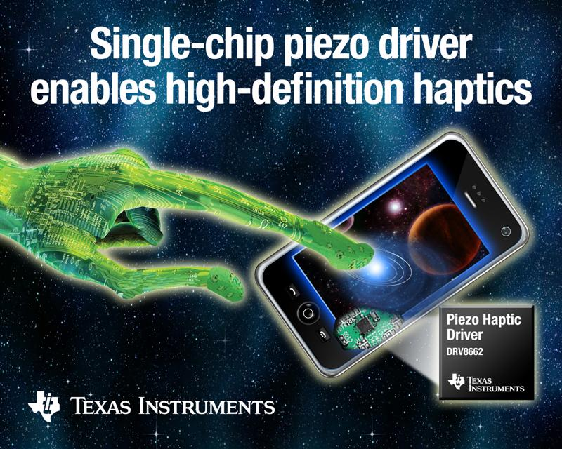 TI introduces industrys most highly integrated piezo haptic driver