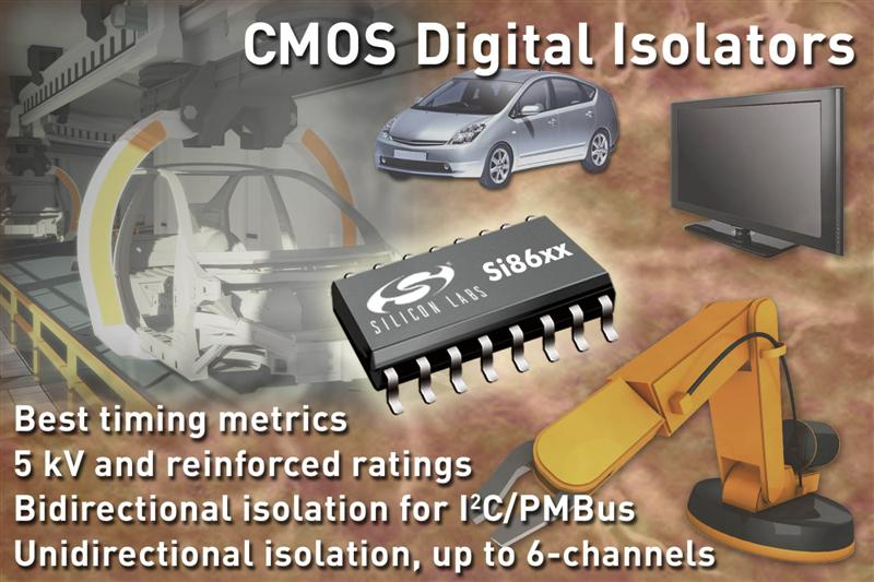 Silicon Labs Introduces Industry's First Six-Channel 5 kV Digital Isolators