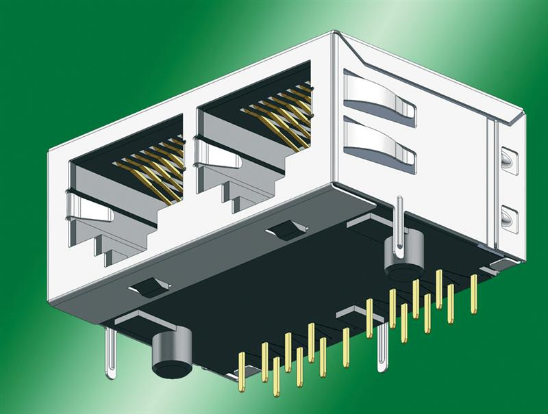 Dual-port RJ45 jack for Cat-5 Gigabit Ethernet applications using wave or reflow soldering: Space-saving and fully shielded design