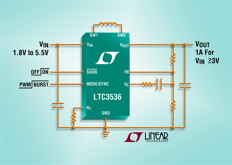 1A, Low Noise Synchronous Buck-Boost DC/DC Converter Offers Extended Battery Run Time for Li-Ion & Alkaline-Powered Devices