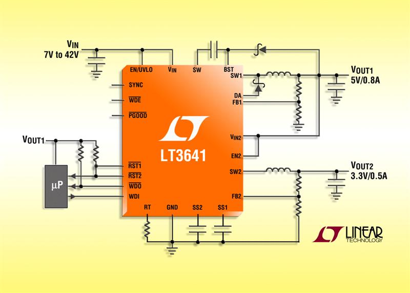 42V Input with 55V Transient Protection, 2MHz Dual Channel Step-Down Regulator with Power-On Reset & Watchdog Timer