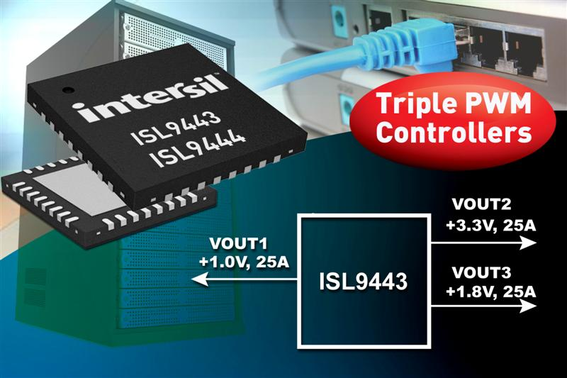 Intersil's Three-Channel Wide Vin Step-Down Controllers Provide Industry's Most Efficient, Compact Power Solutions