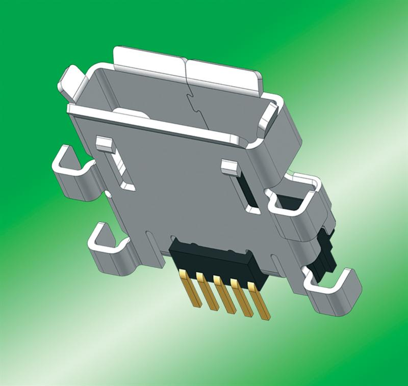 Micro-AB USB receptacle from SUYIN for sturdy under-board mounting