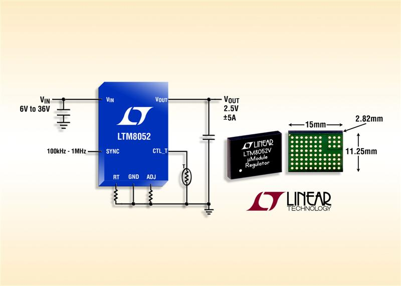 36VIN, �5A Source/Sink Step-Down μModule Regulator Features Adjustable Output Current Limit