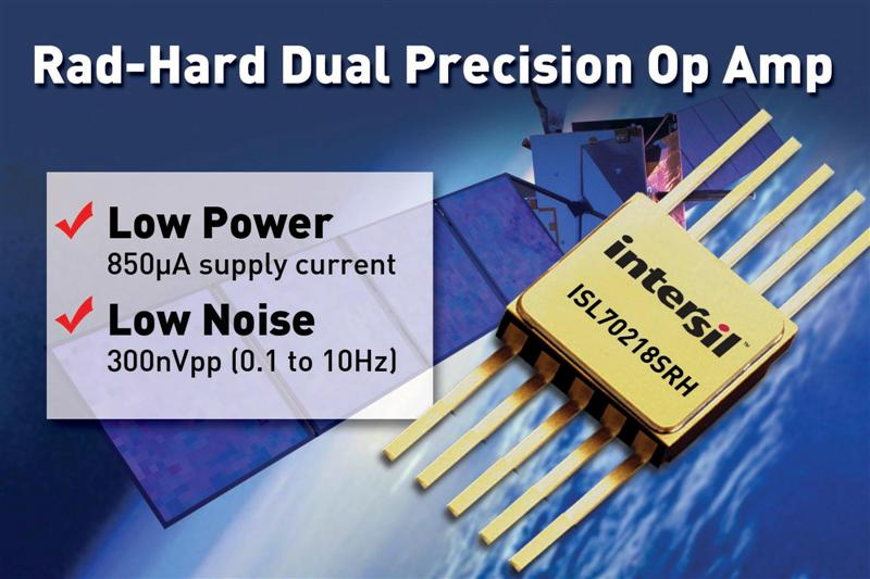 Intersil's Rad-Hard Dual Precision Op Amp Consumes Low Power, Delivers Low Noise