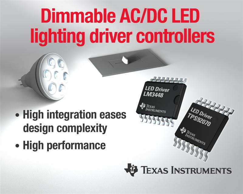 TI introduces two phase-dimmable, offline LED lighting drivers