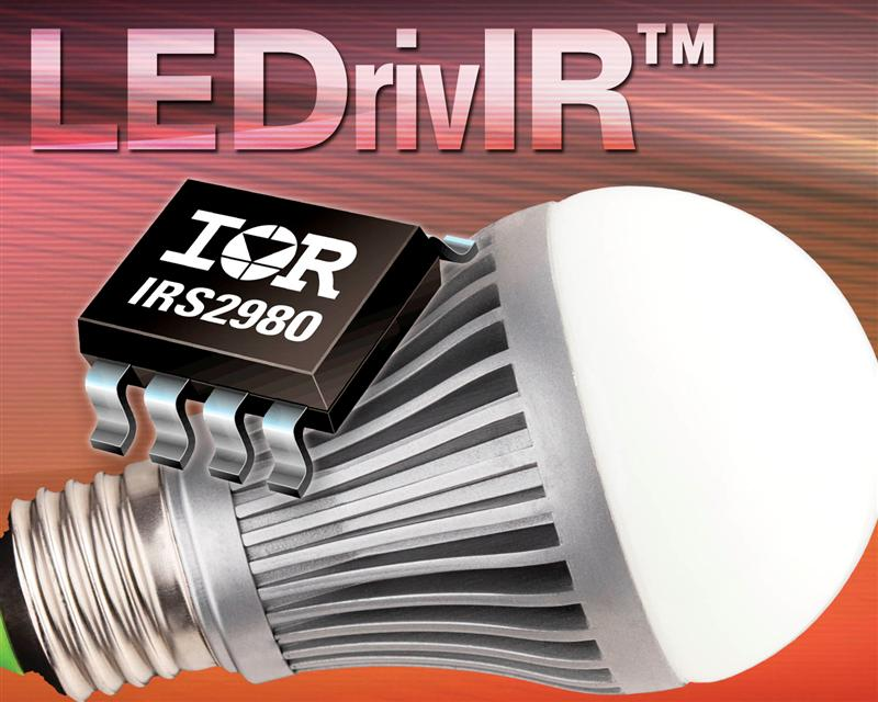IR's High-voltage IRS2980 LEDrivIR™ IC for Non-isolated LED Driver Applications Offers Improved Performance and Greater Cost Efficiency
